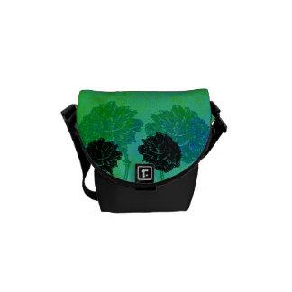 Schwarze Ringelblumen Kurier Tasche