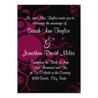 Schwarze/rosa Kreis-Strudel-Hochzeits-Einladung
