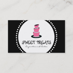 Schwarze Rosa Kuchen Kuchen Bäckerei Visitenkarten Visitenkarte