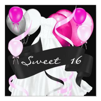 Schwarze rosa weiße Kleiderballone 16. Geburtstag Quadratische 13,3 Cm Einladungskarte