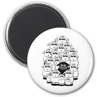 Schwarze Schafe Runder Magnet 5,7 Cm