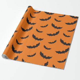 Schwarze Schläger auf orange Hintergrund Halloween Geschenkpapier