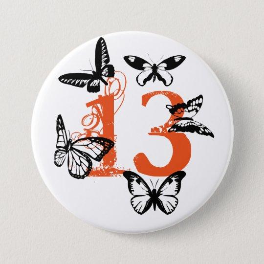 """Schwarze Schmetterlinge auf Orange """"13"""" Knopf Runder Button 7,6 Cm"""