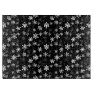 Schwarze Schnee-Flocken-Mitternachtsaufregungen Schneidebrett