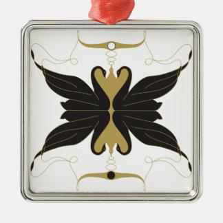Schwarze Schwäne und Tauben Quadratisches Silberfarbenes Ornament