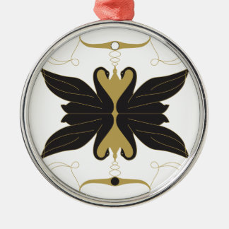Schwarze Schwäne und Tauben Rundes Silberfarbenes Ornament