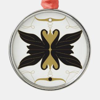 Schwarze Schwäne und Tauben Silbernes Ornament