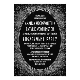 Schwarze silberne Kunst-Deko-Verlobungs-Party Karte