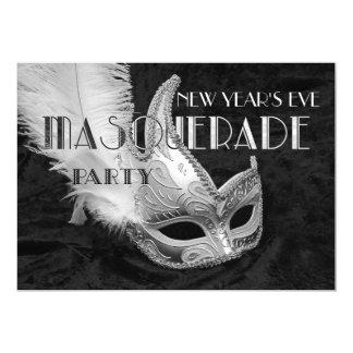 Schwarze silberne Maskerade-Ball-Party Einladung