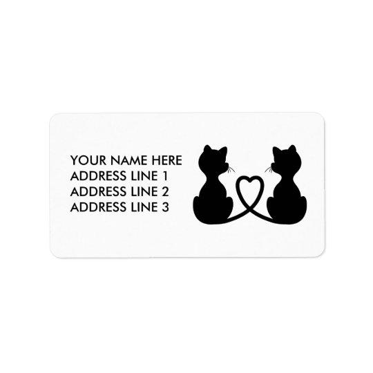 Schwarze Silhouette von zwei Katzen in der Liebe Adressaufkleber