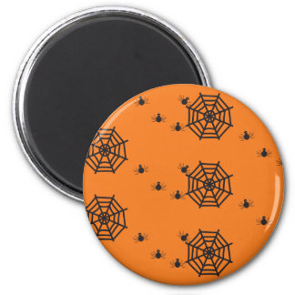 Schwarze Spinnen und Spinnennetze Halloween Runder Magnet 5,7 Cm