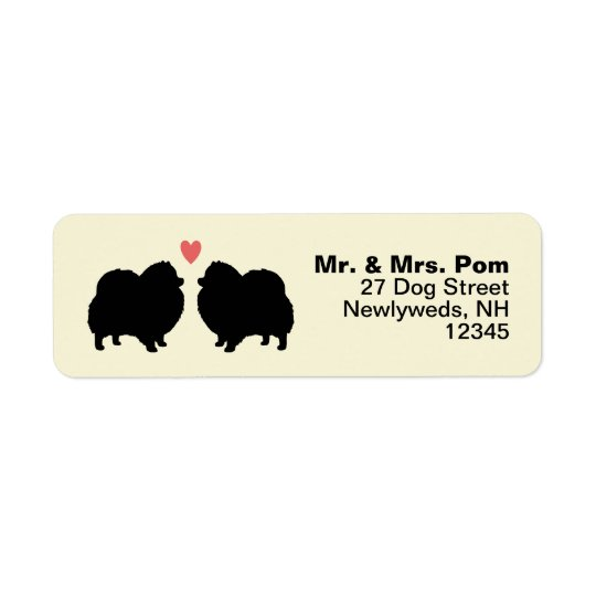 Schwarze Spitz-HundeSilhouetten mit Herzen Rücksendeetikett