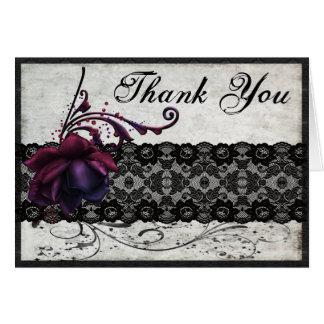 Schwarze Spitze-Hochzeit danken Ihnen Karte