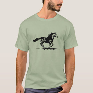 Schwarze Stallions-Pferdegraphik T-Shirt