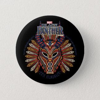 Schwarze Stammes- Masken-Ikone des Panther-  Erik Runder Button 5,7 Cm