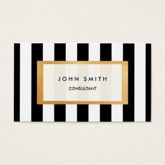 Schwarze Streifen u. Imitat-Golddoppelseitige Visitenkarte