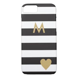Schwarze Streifen und Gold/elegante schwarze iPhone 7 Hülle