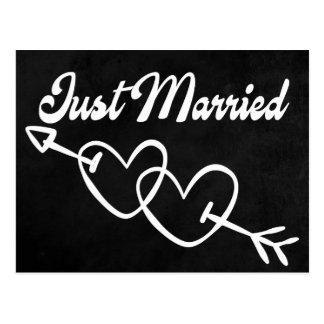 Schwarze Tafel-gerade verheiratete Postkarte