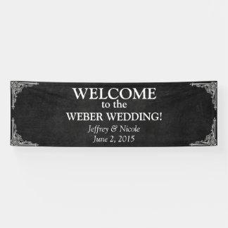 Schwarze Tafel-rustikales Weiß blüht Hochzeit Banner
