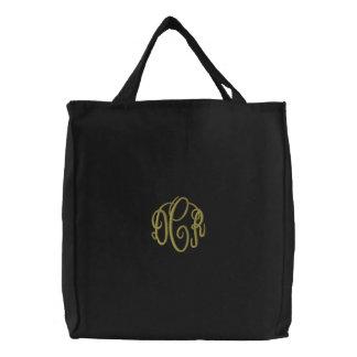 Schwarze Taschen-Tasche mit gestickten Bestickte Tragetasche