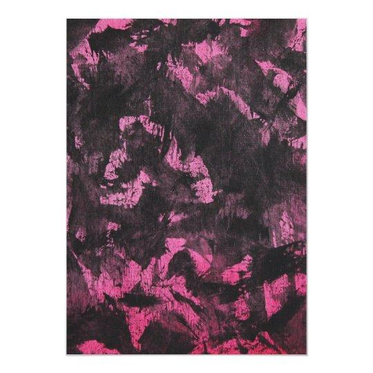 Schwarze Tinte auf rosa Hintergrund 12,7 X 17,8 Cm Einladungskarte