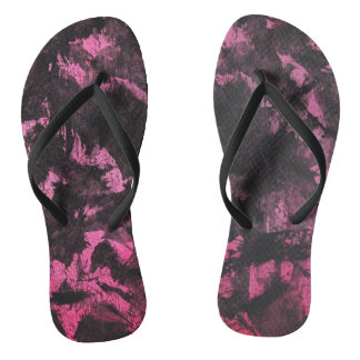 Schwarze Tinte auf rosa Hintergrund Flip Flops