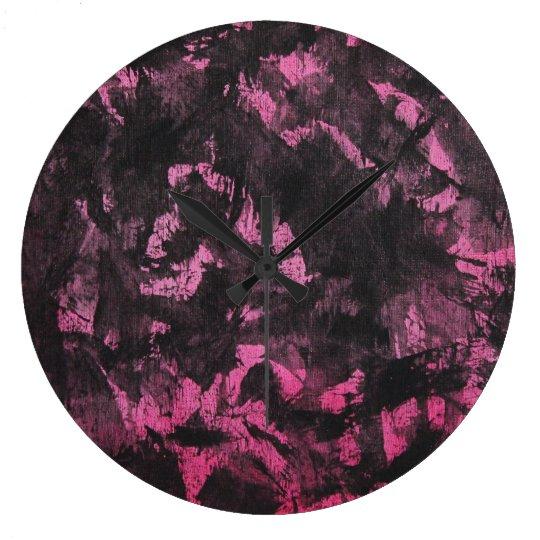 Schwarze Tinte auf rosa Hintergrund Große Wanduhr