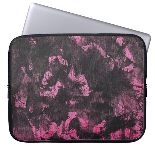 Schwarze Tinte auf rosa Hintergrund Laptop Sleeve