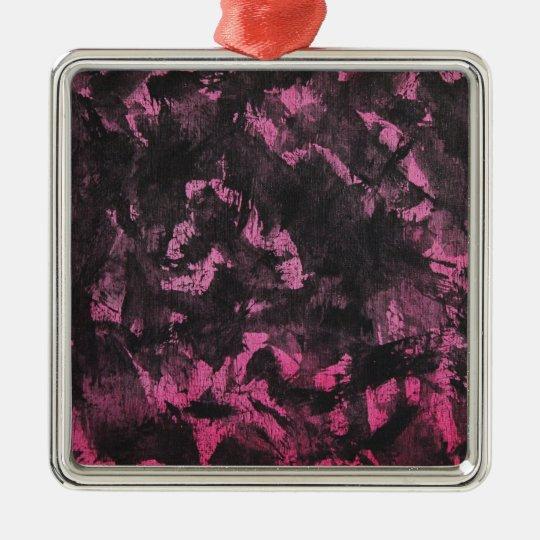 Schwarze Tinte auf rosa Hintergrund Quadratisches Silberfarbenes Ornament