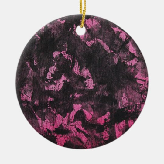 Schwarze Tinte auf rosa Hintergrund Rundes Keramik Ornament