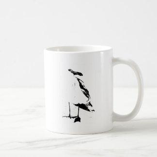 Schwarze Tinten-Konturseemöwe Tasse