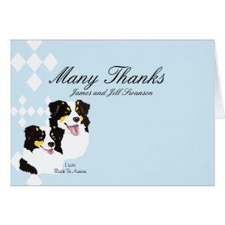 Schwarze Tri Australier danken Ihnen zu kardieren Karte