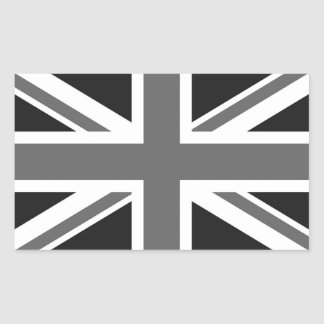 Schwarze u. weiße britische Flagge Rechteckiger Aufkleber