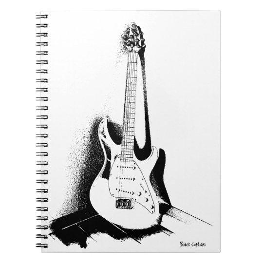 Schwarze u. weiße E-Gitarre - Notizbuch Spiral Notizblock
