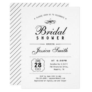 Schwarze u. weiße elegante Brautparty-Einladung Karte