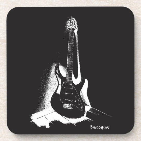 Schwarze u. weiße elektrische Gitarre - Getränk Untersetzer