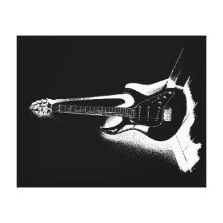 Schwarze u. weiße elektrische Gitarre - Leinwand