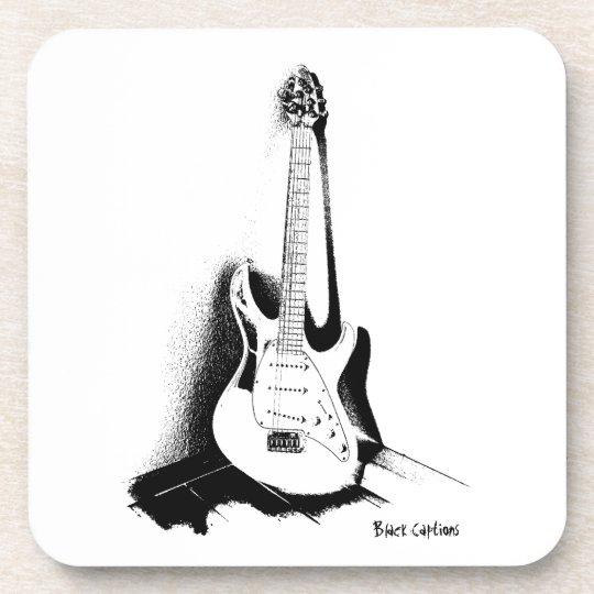 Schwarze u. weiße elektrische Gitarre - Untersetzer