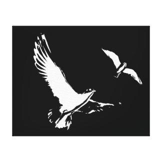 Schwarze u. weiße Fliegen-Vögel - Leinwand