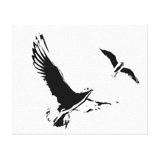 Schwarze u. weiße Fliegen-Vögel - Leinwand Leinwanddruck