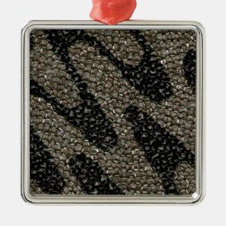 Schwarze u. weiße gewellte Paillette Quadratisches Silberfarbenes Ornament