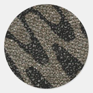 Schwarze u. weiße gewellte Paillette Runder Aufkleber