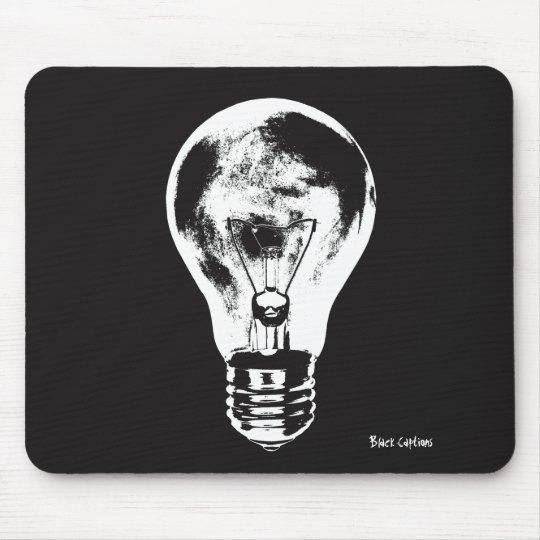 Schwarze u. weiße Glühlampe - Mousepad
