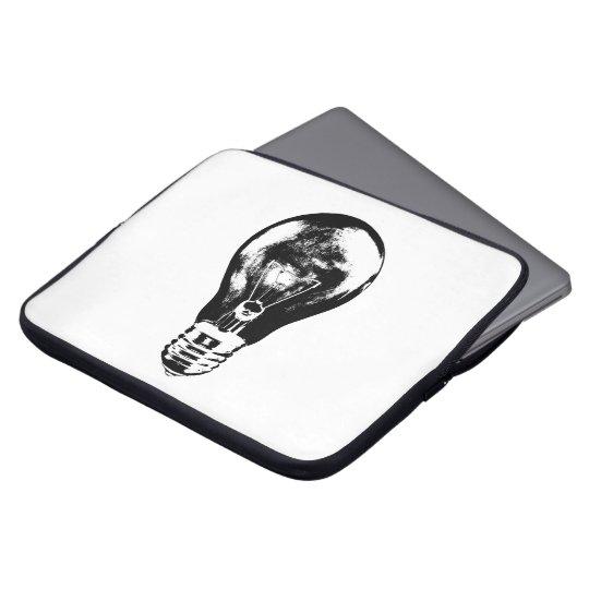 Schwarze u. weiße Glühlampe - Notizbuch-Hülse Laptopschutzhülle