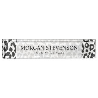 Schwarze u. weiße Leopard-Druck-Tierhaut-Muster Schreibtischplakette