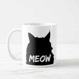 Schwarze u. weiße Meow-Katze Kaffeetasse