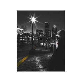 Schwarze u. weiße Nachtlebenkunst Leinwanddruck