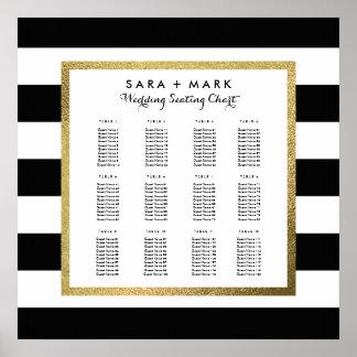 Schwarze u. weiße Streifen, die Sitzplatz-Diagramm Poster