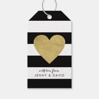 Schwarze u. weiße Streifen mit Goldfolien-Herzen Geschenkanhänger