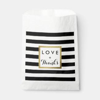 Schwarze u. weiße Streifen mit Goldfolien-Hochzeit Geschenktütchen
